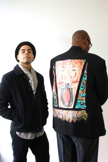 Artist Te'j Matthews with participant Robert Tinker
