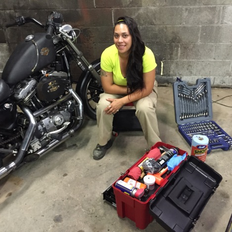 artist and motorcycle mechanic sarah lyon taught an 8 week motorcycle mechanics workshop for women in smoketown an empowering series of classes outlining